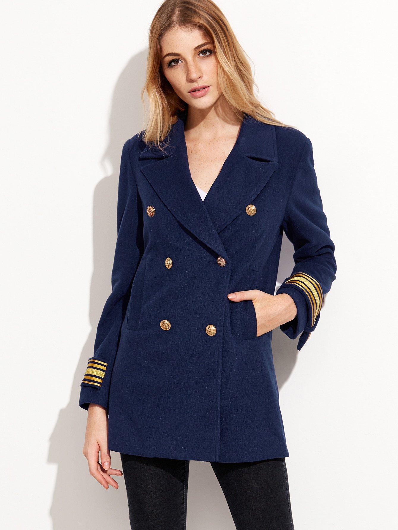 Navy Double Breasted Striped Cuff Sailor BlazerNavy Double Breasted Striped Cuff Sailor Blazer<br><br>color: Navy<br>size: M,S,XS