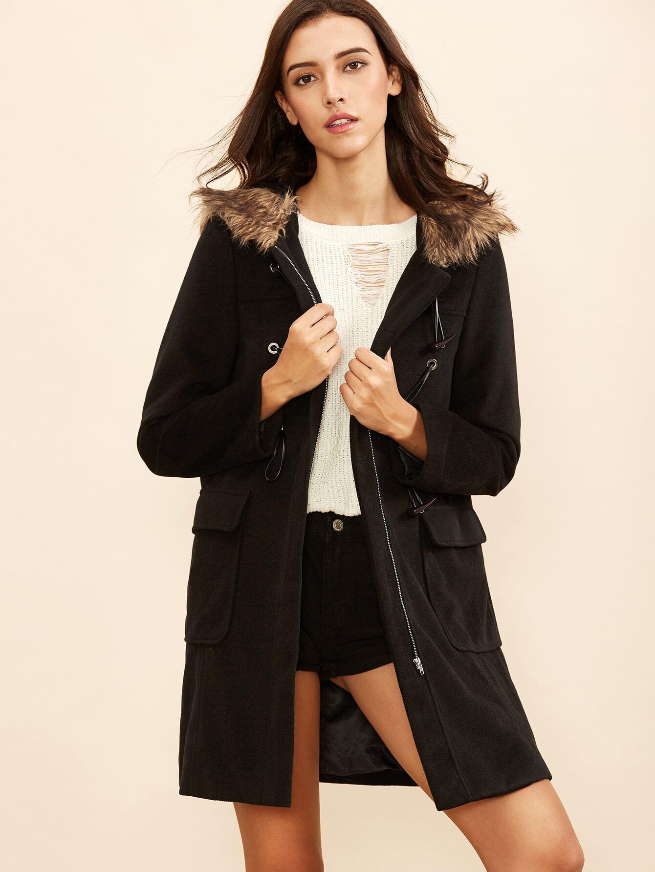 Black Duffle Coat With Faux Fur Hood -SheIn(Sheinside)
