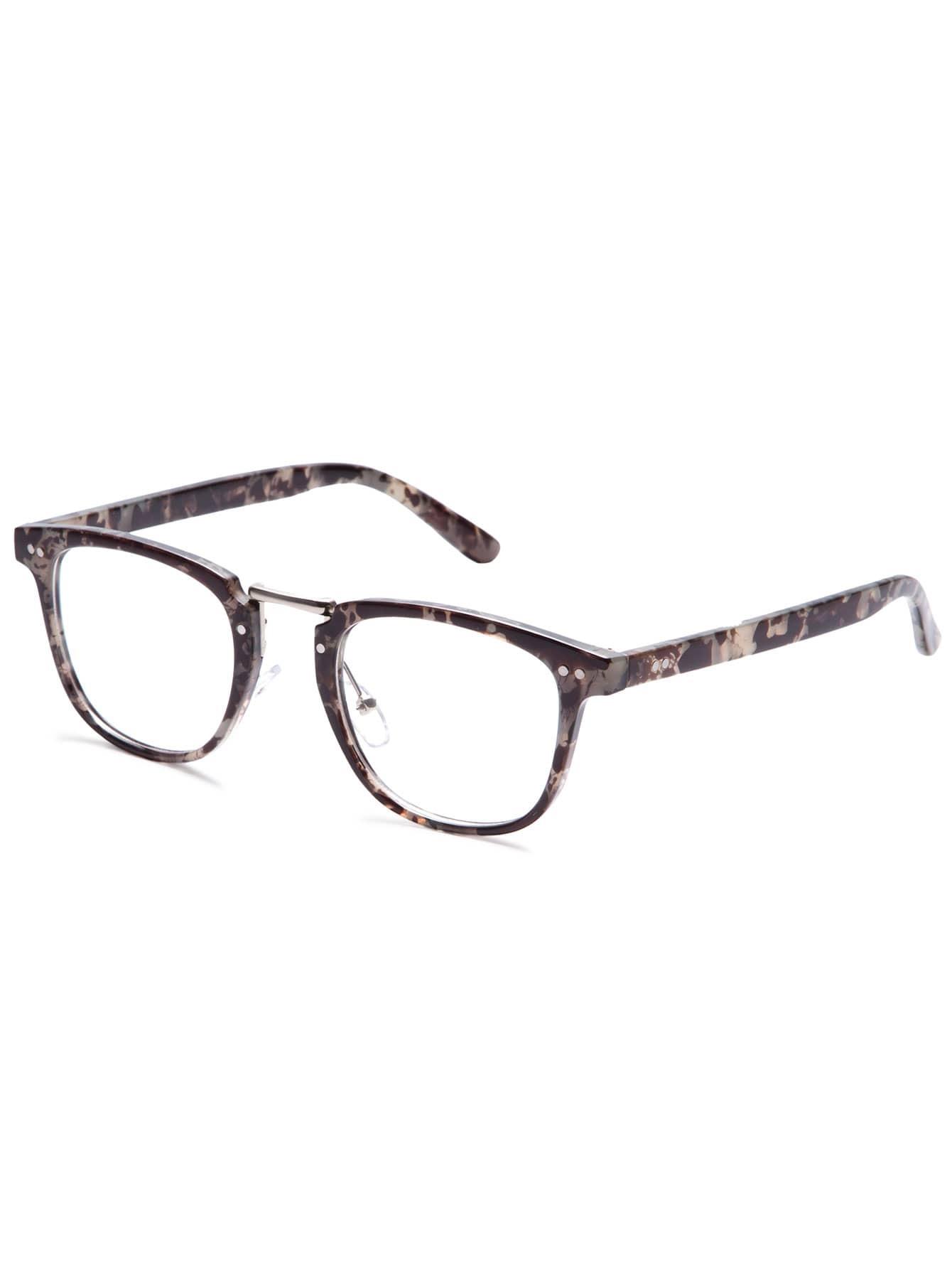 Grey Tortoise Frame Clear Lens Glasses sunglass160909307