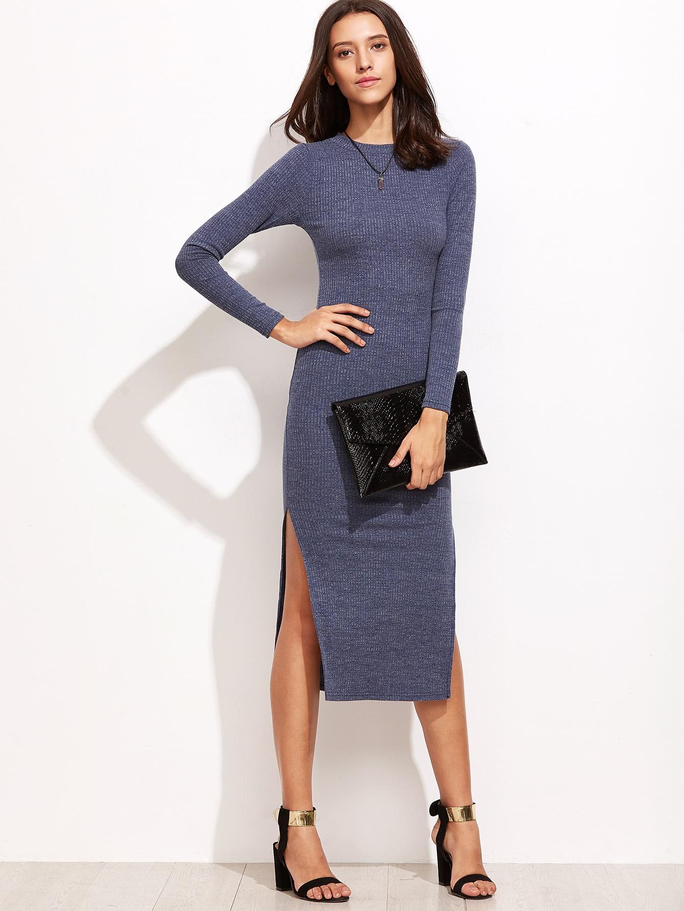 Split Side Ribbed Sweater Dress dress160915404