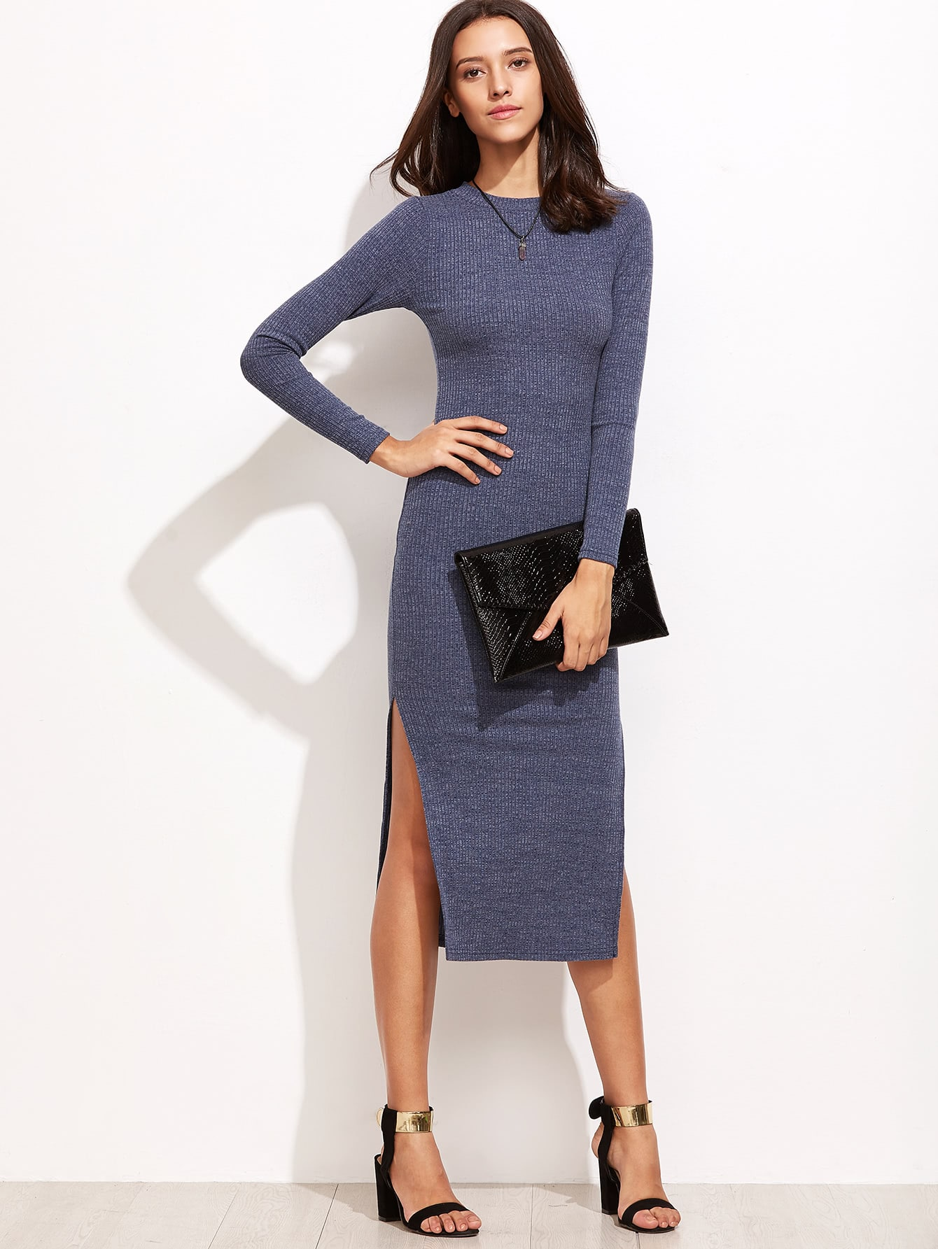 Split Side Ribbed Sweater Dress dress160915404