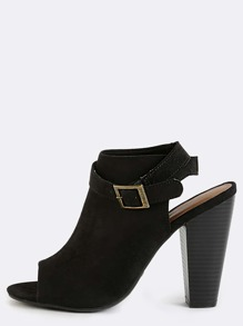 Faux Suede Wrap Around Ankle Boots BLACK