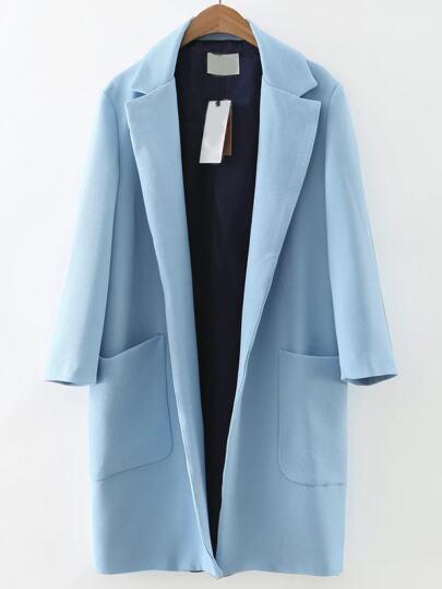 Abrigo largo con solapa y bolsillo - azul