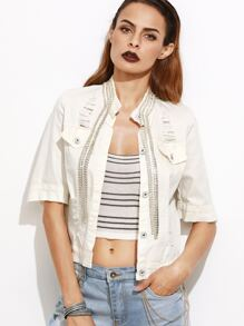 White Rhinestone Chain Embellished Denim jacket
