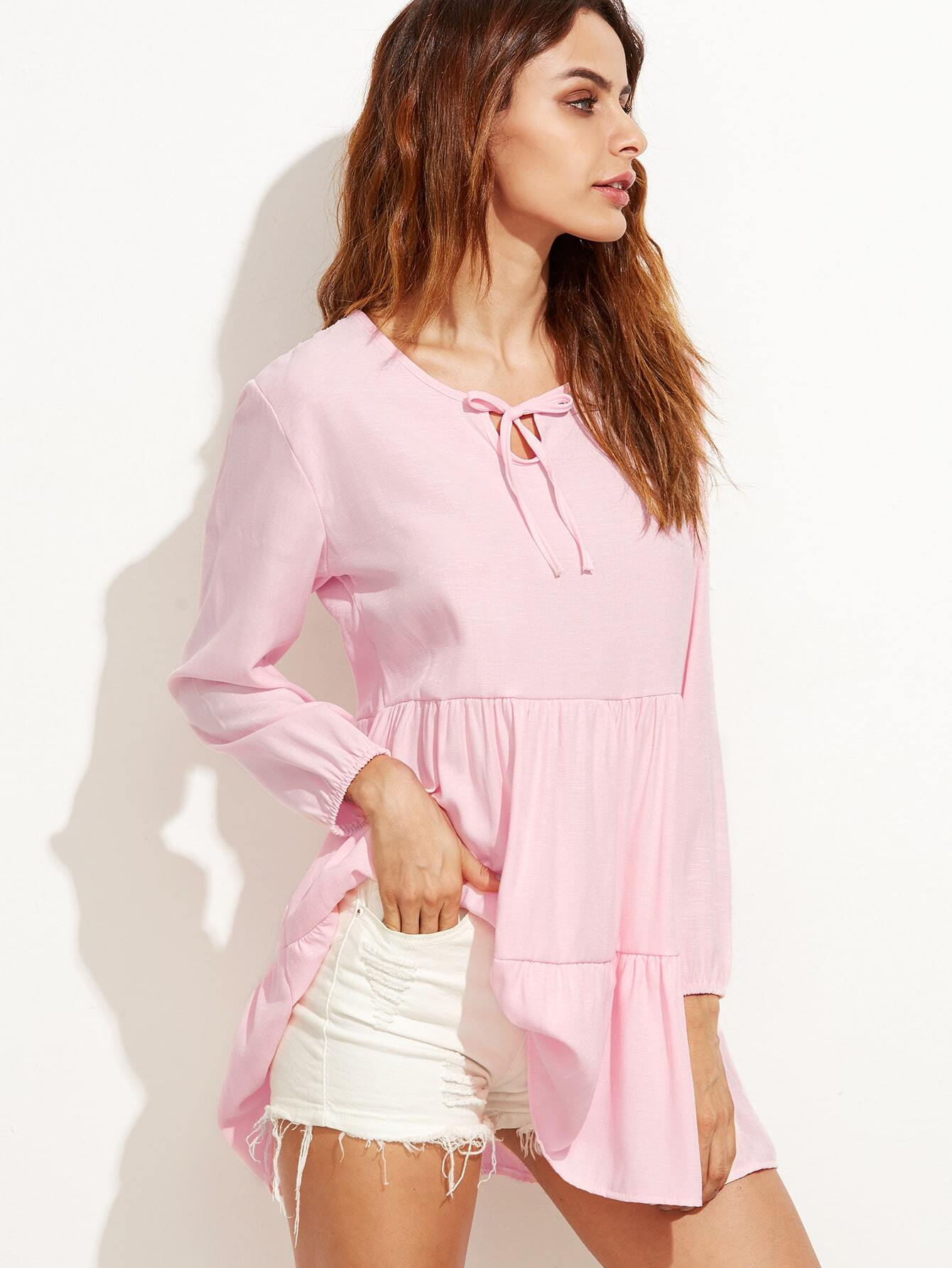 Pink Tie Neck Blouse 33