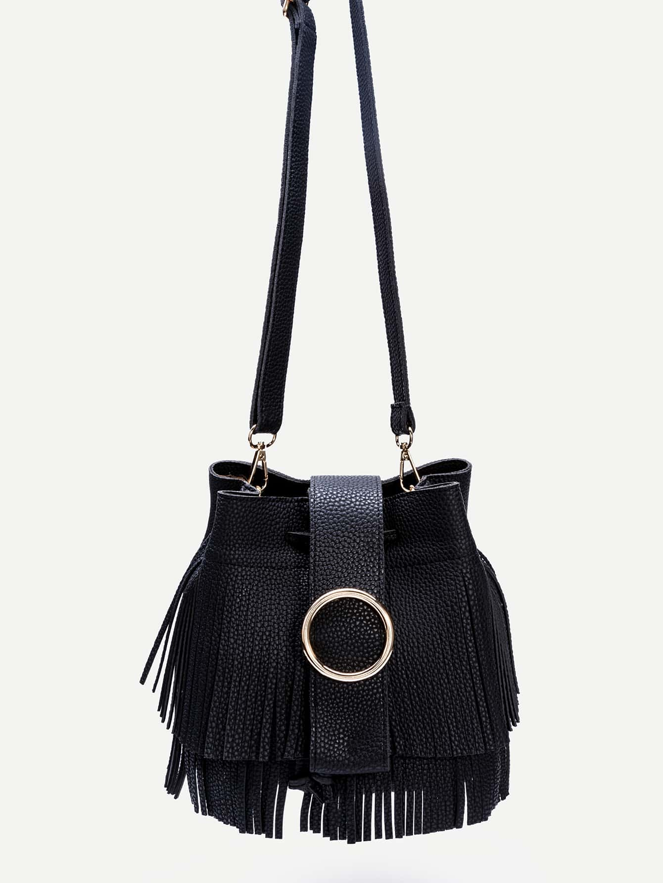 Black PU Fringe Trim Drawstring Bucket Bag