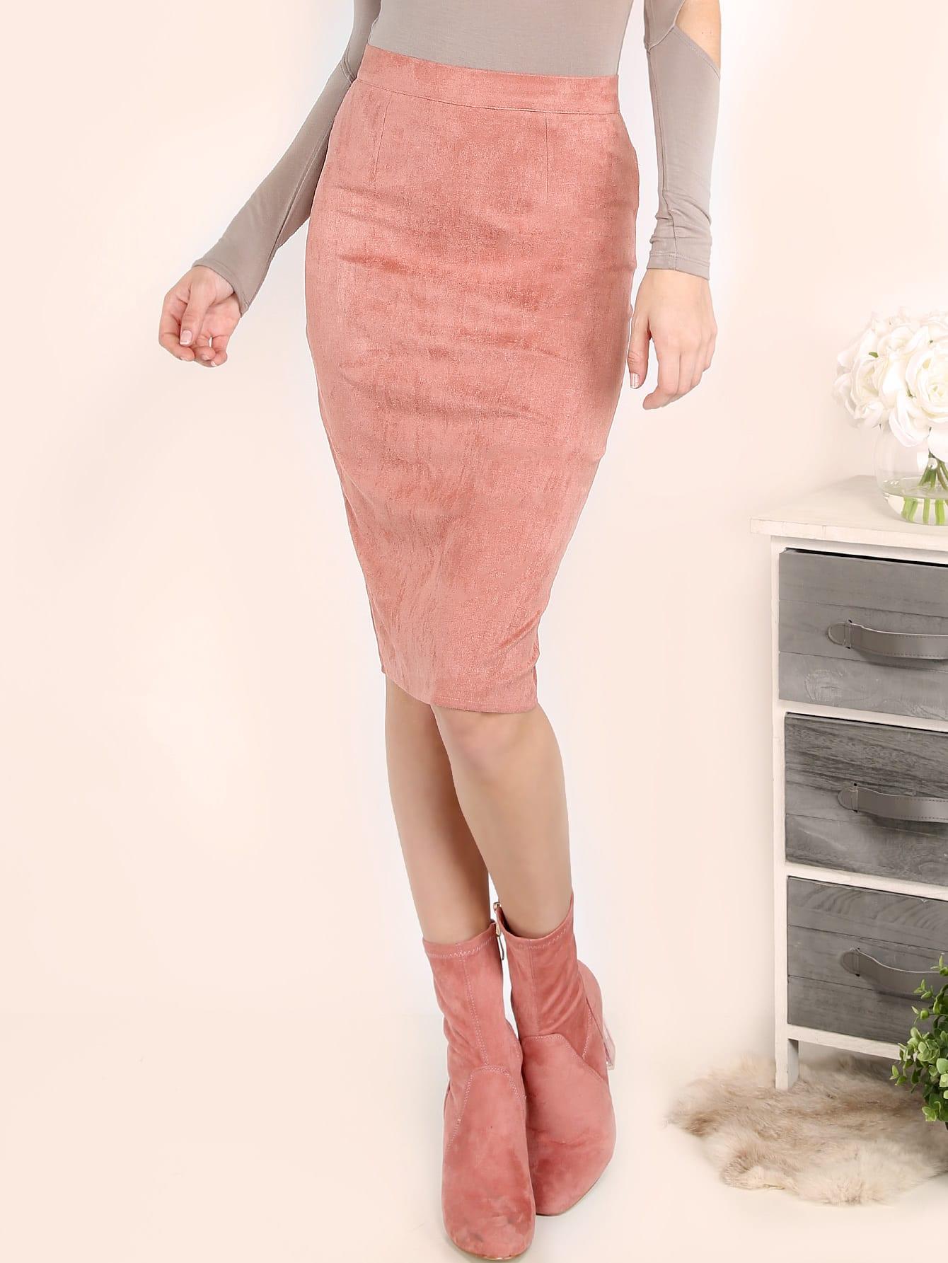 Фото Pink Suede Pencil Skirt. Купить с доставкой
