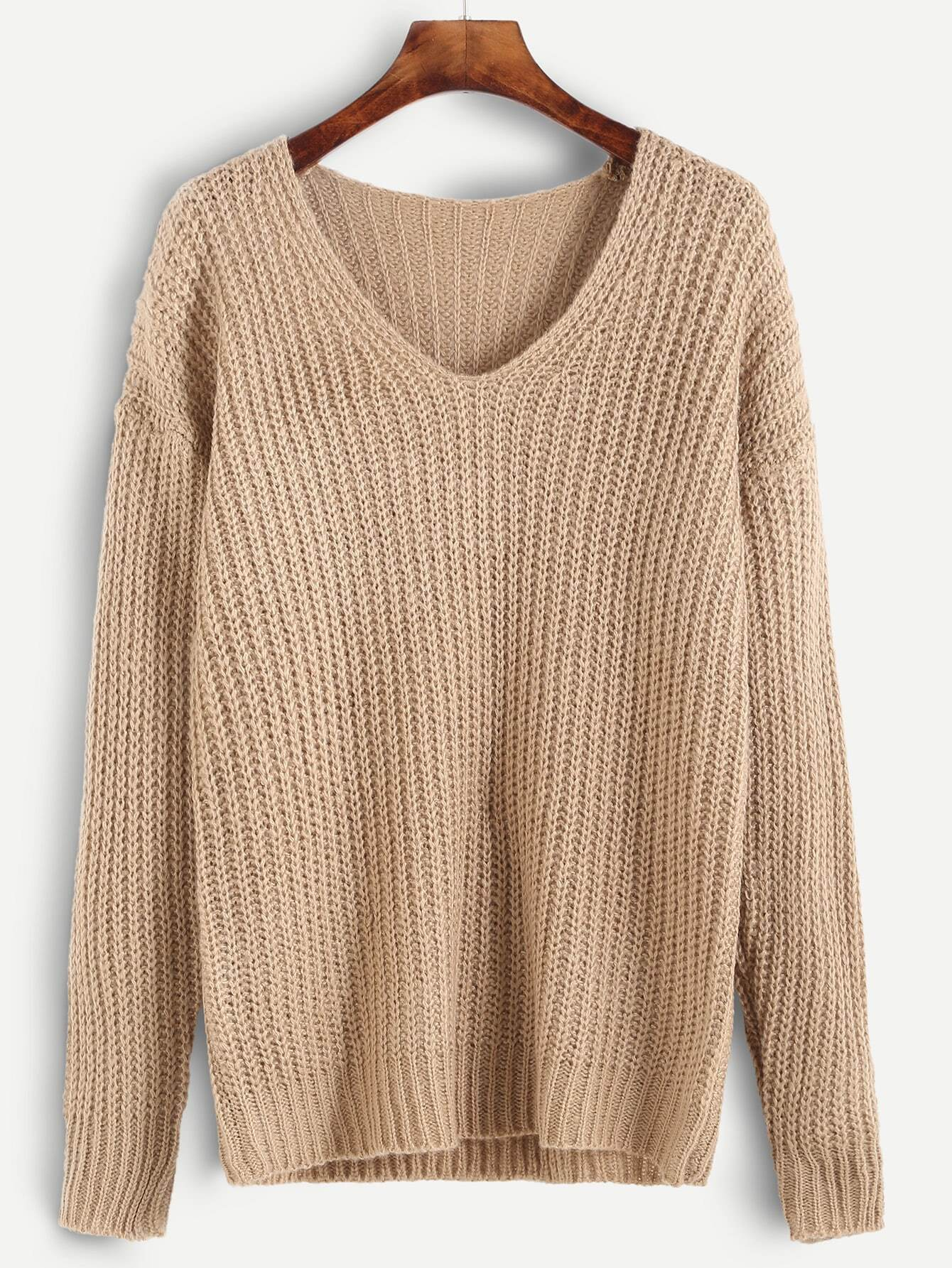 Apricot Ribbed Knit Drop Shoulder Sweater sweater160920455