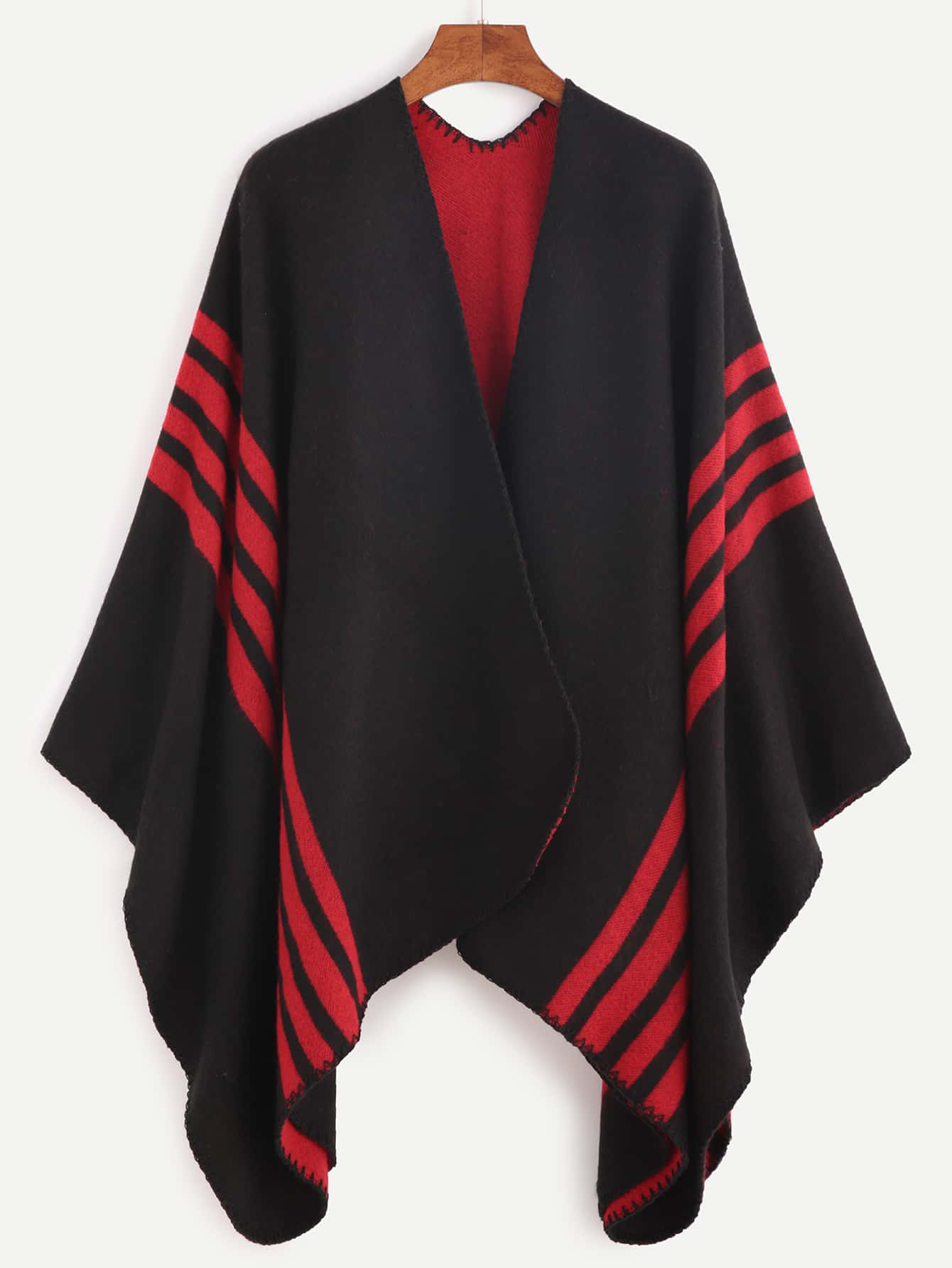 Black Striped Trim Asymmetric Cape CoatBlack Striped Trim Asymmetric Cape Coat<br><br>color: Black<br>size: one-size