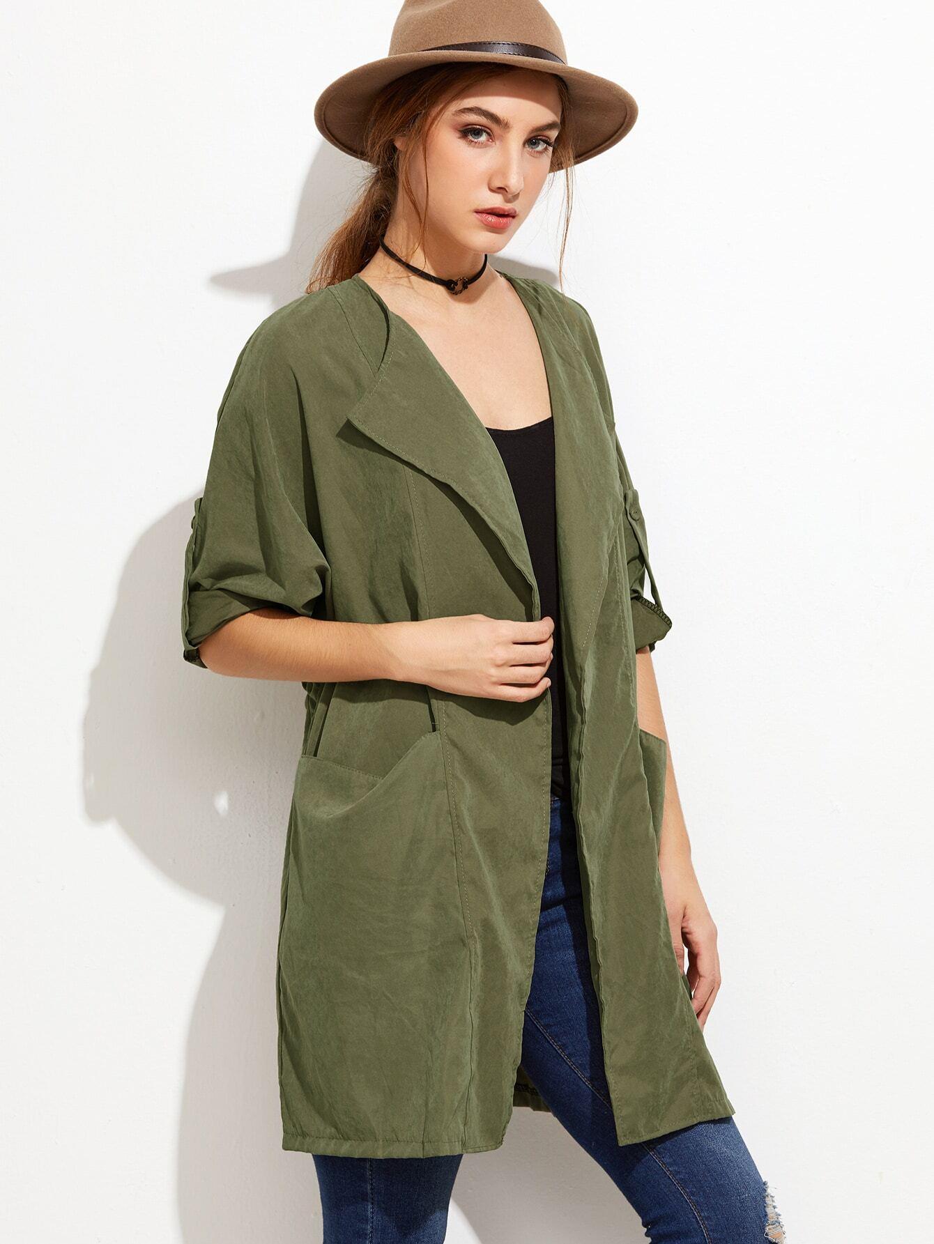 Army Green Roll Tab Sleeve Drawstring CoatArmy Green Roll Tab Sleeve Drawstring Coat<br><br>color: Green<br>size: one-size