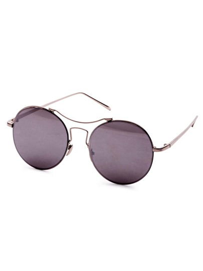 Silver Frame Double Bridge Sunglasses