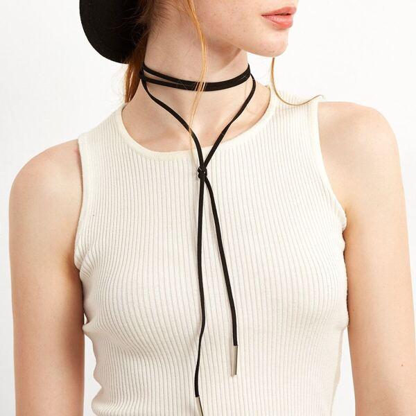 Black Metal Bar Wrap Choker Necklace