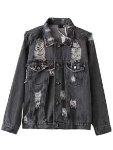 Black Ripped Denim Jacket With Pockets