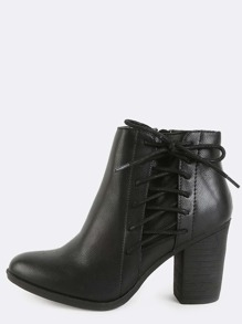 Low Cut Side Lace Up Booties BLACK
