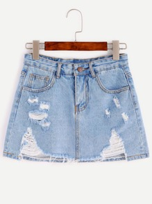 Bleach Wash Distressed Raw Hem Denim Skirt
