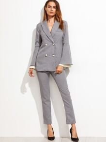 Grey Vertical Striped Bell Sleeve Blazer With Pants