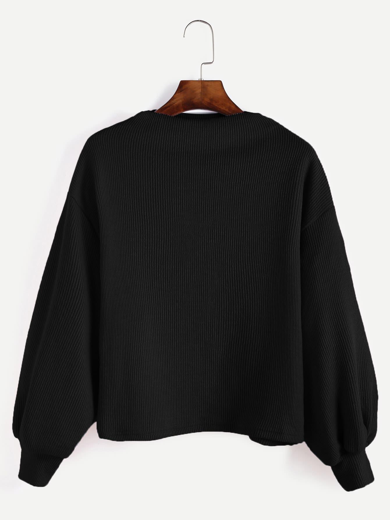 Black Ribbed Lantern Sleeve Sweater sweater161017004