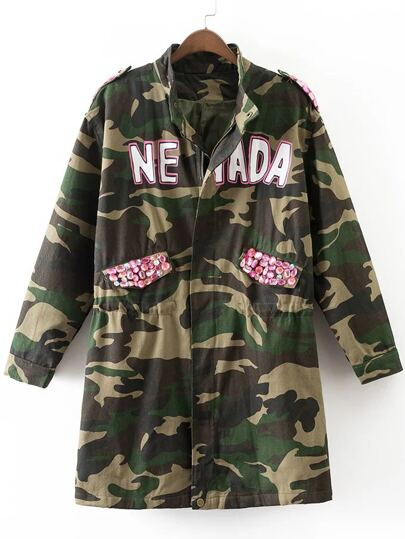 Army Green Rhinestone Detail Eagle Embroidery Camouflage Coat
