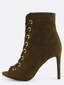 Stiletto Metallic Eyelet Boots OLIVE