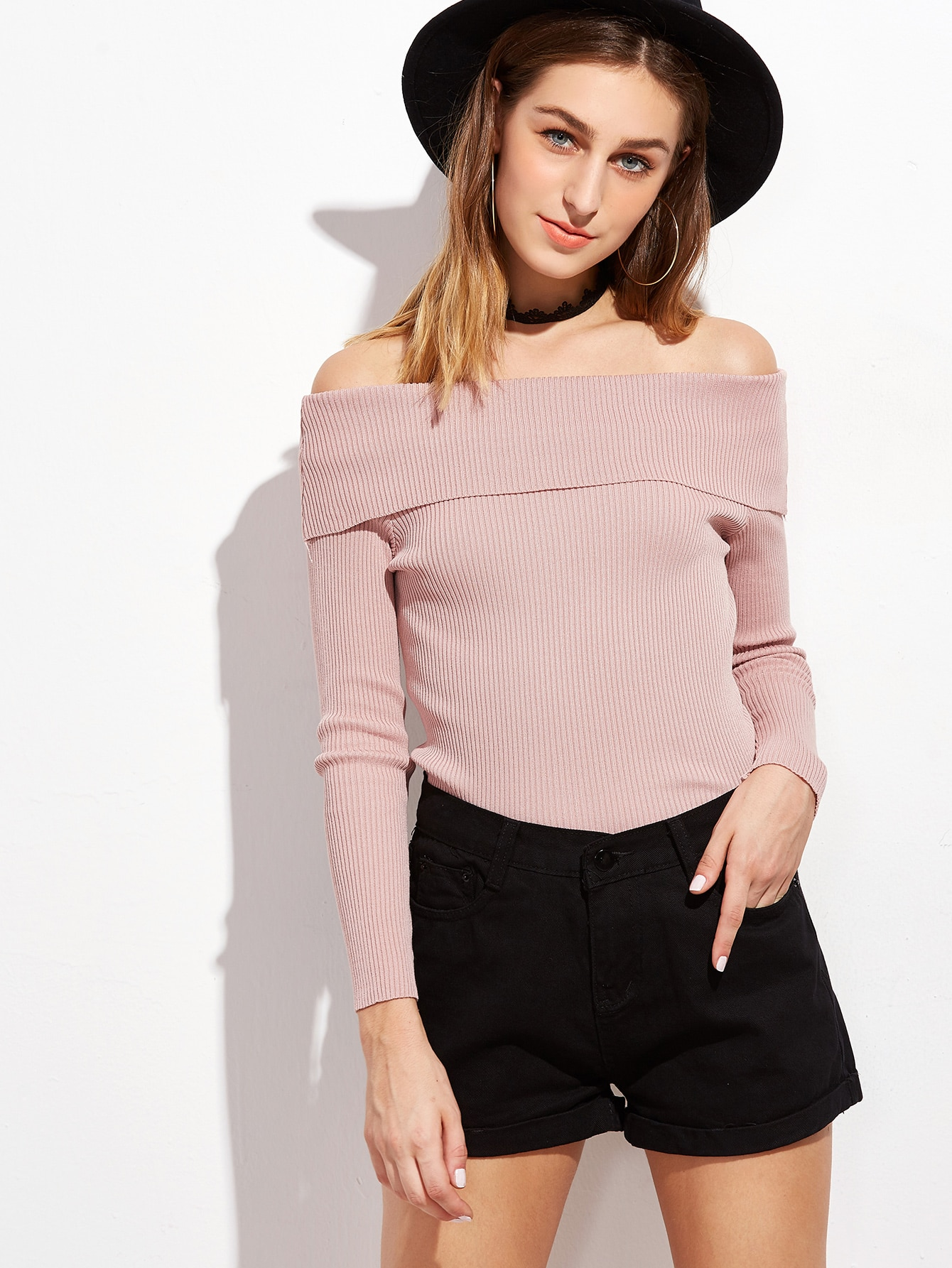 Pink Off The Shoulder Ribbed Foldover Sweater sweater161007002