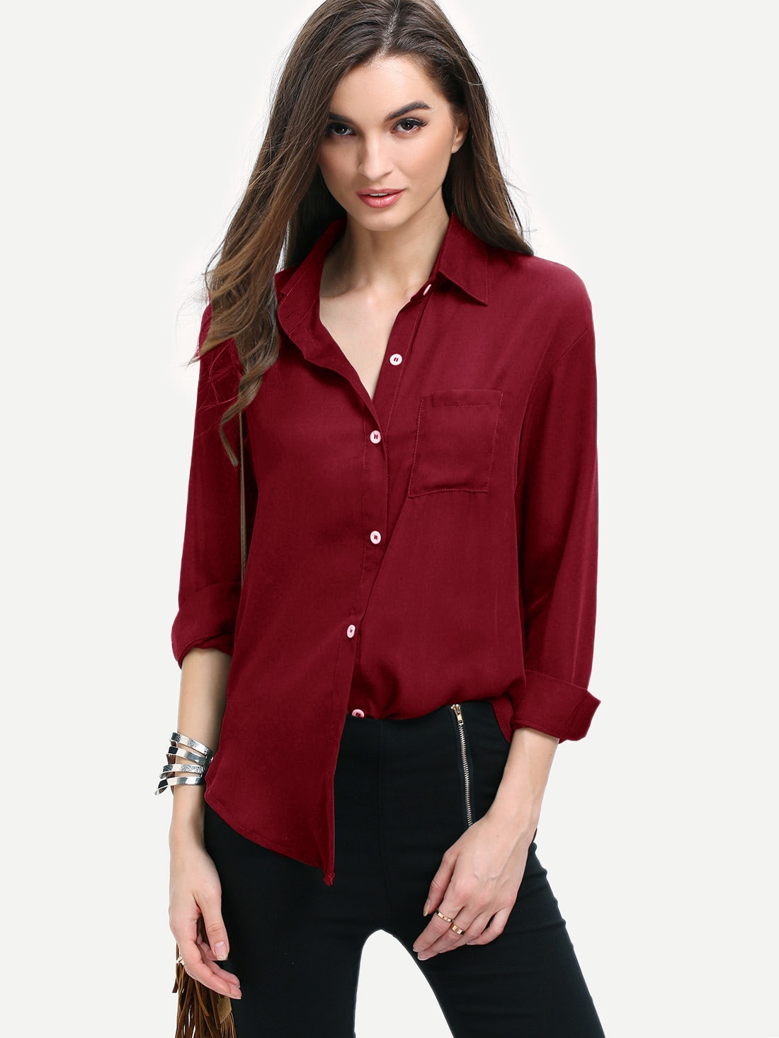 Curved hem pocket shirt shein sheinside for Women s button down shirts extra long