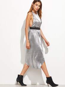 Metallic Sliver Strappy Back Asymmetric Overlap Dress