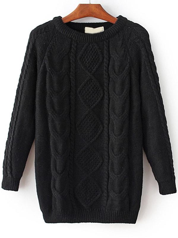 Black Cable Knit Raglan Sleeve Sweater sweater161020220