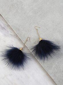 Drop Feather Chain Earrings NAVY