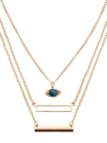 Gold Layered Charm Pendant Wrap Link Necklace