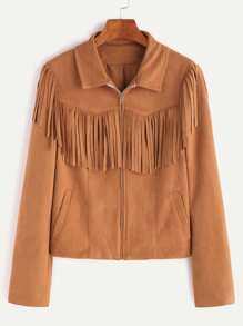 Camel Faux Suede Zip Up Fringe Jacket