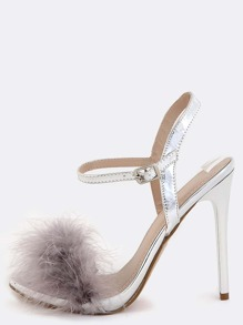 Feather Ankle Strap Skinny Heels SILVER