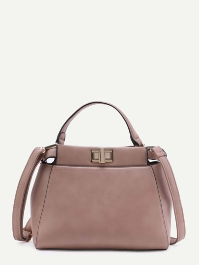 Cameo Brown Faux Leather Handbag With Strap