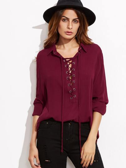 Burgundy Lace Up Front Blouse