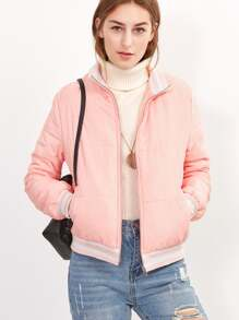 Pink Striped Trim Zip Up Padded Jacket