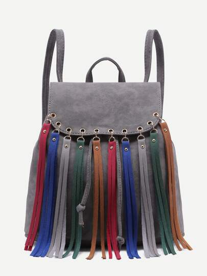 Grey Faux Leather Multicolor Fringe Flap Backpack