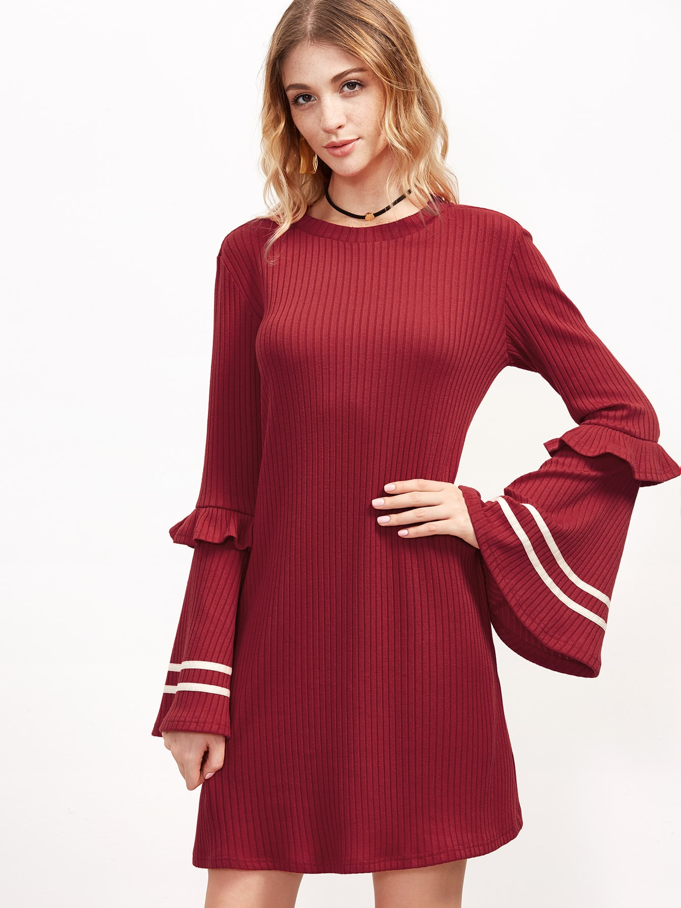 Red Striped Bell Sleeve Ribbed Dress dress161014703