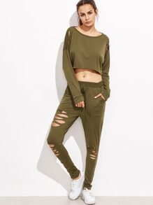 Drop Shoulder Ripped Dip Hem Top With Drawstring Pants