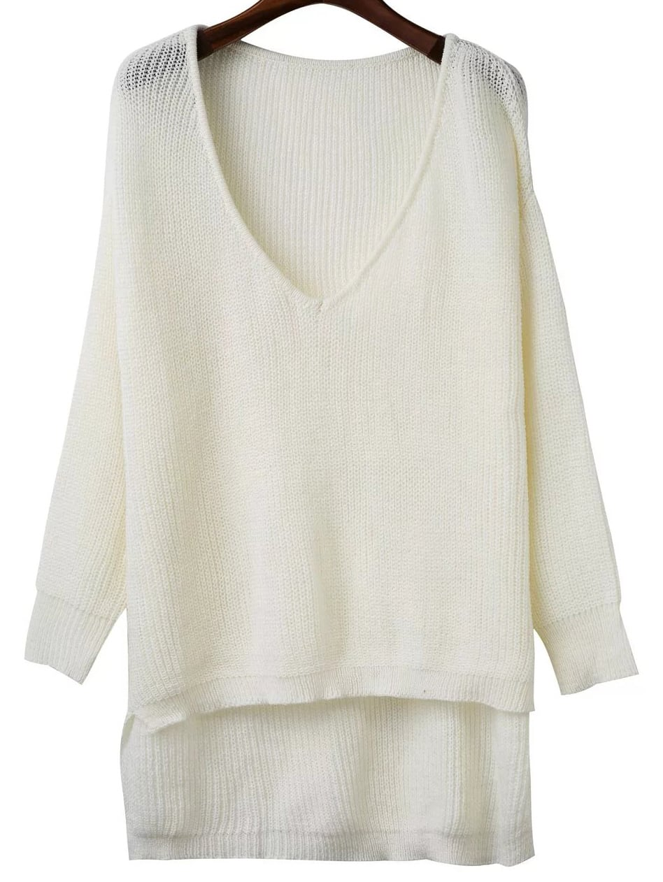 White V Neck High Low Knitwear sweater161028223