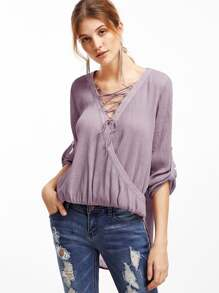Purple Lace Up Surplice Front Roll Sleeve Textured Blouse