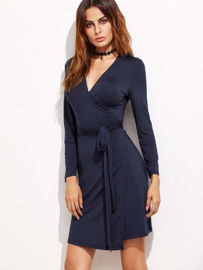 Navy V Neck Wrap Dress