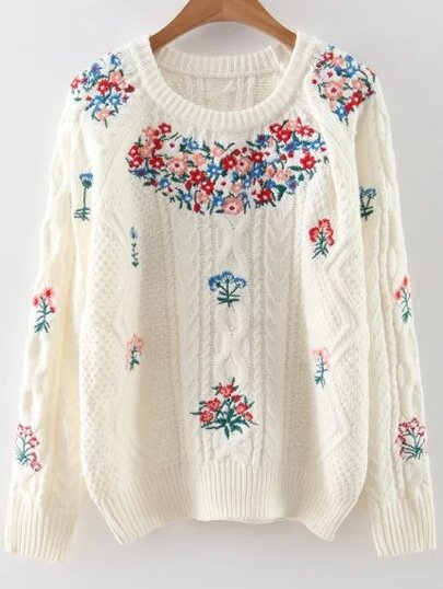 White Floral Embroidery Raglan Sleeve Sweater