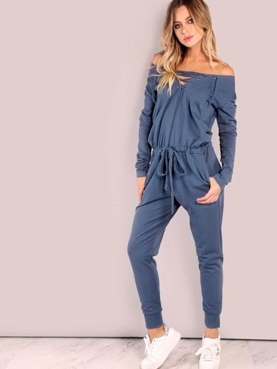 Slouchy Lace Up Cotton Jumpsuit VINTAGE BLUE