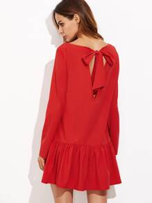 Red Bow Tie Open Back Drop Waist Dress