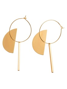 Gold Semicircle Bar Geometric Drop Earrings