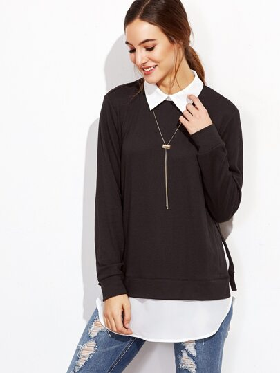 Black Contrast Collar 2 In 1 Sweatshirt