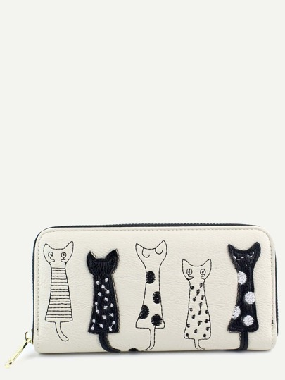 Casual Beige PU Little Cat Wallet