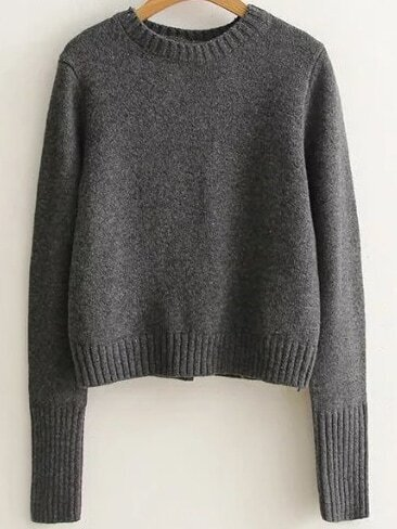 Dark Grey Ribbed Trim Lace Up Back Sweater sweater161017211