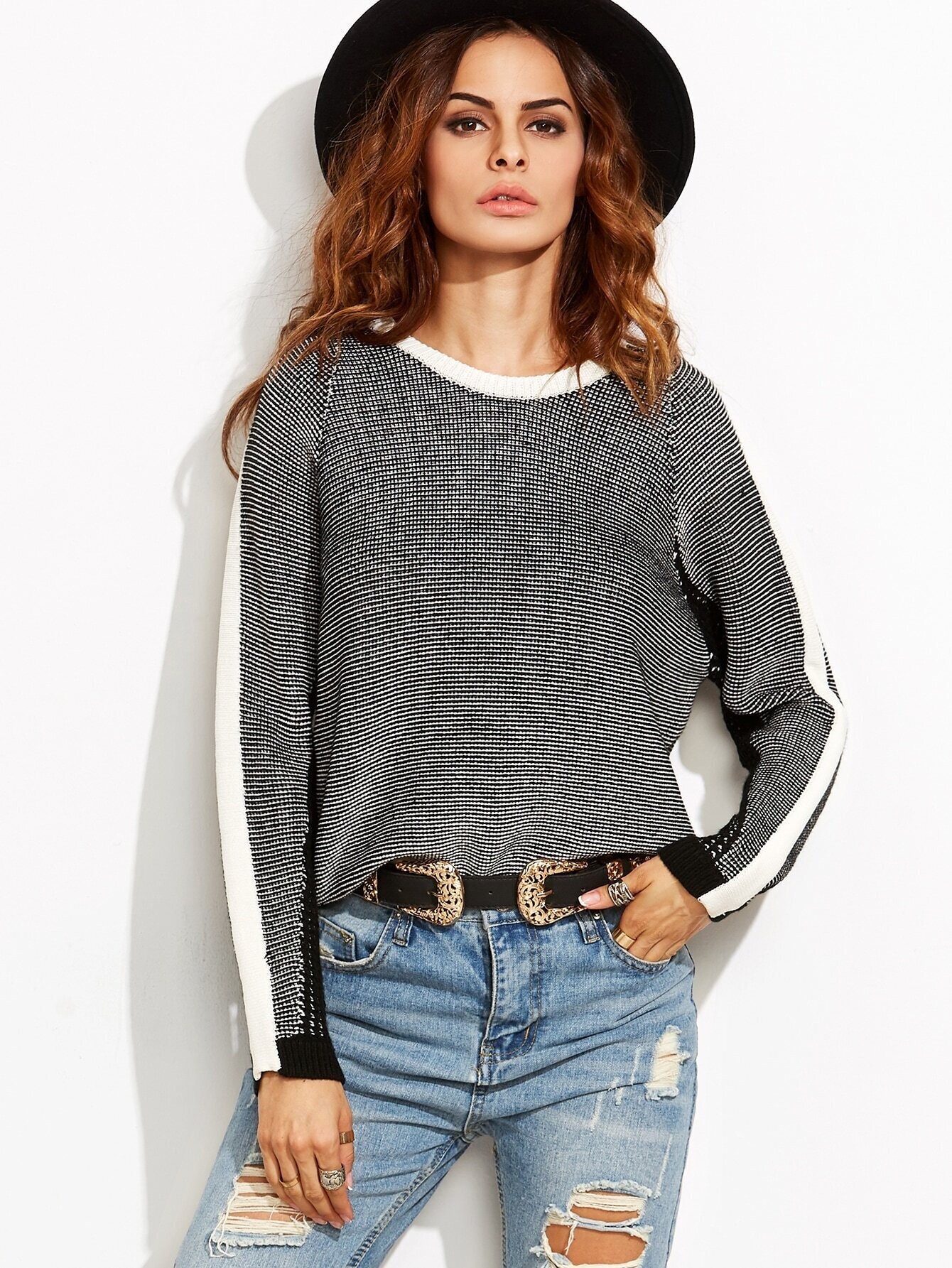 Black Contrast Trim Stripe Sleeve Raglan Sweater sweater160809707