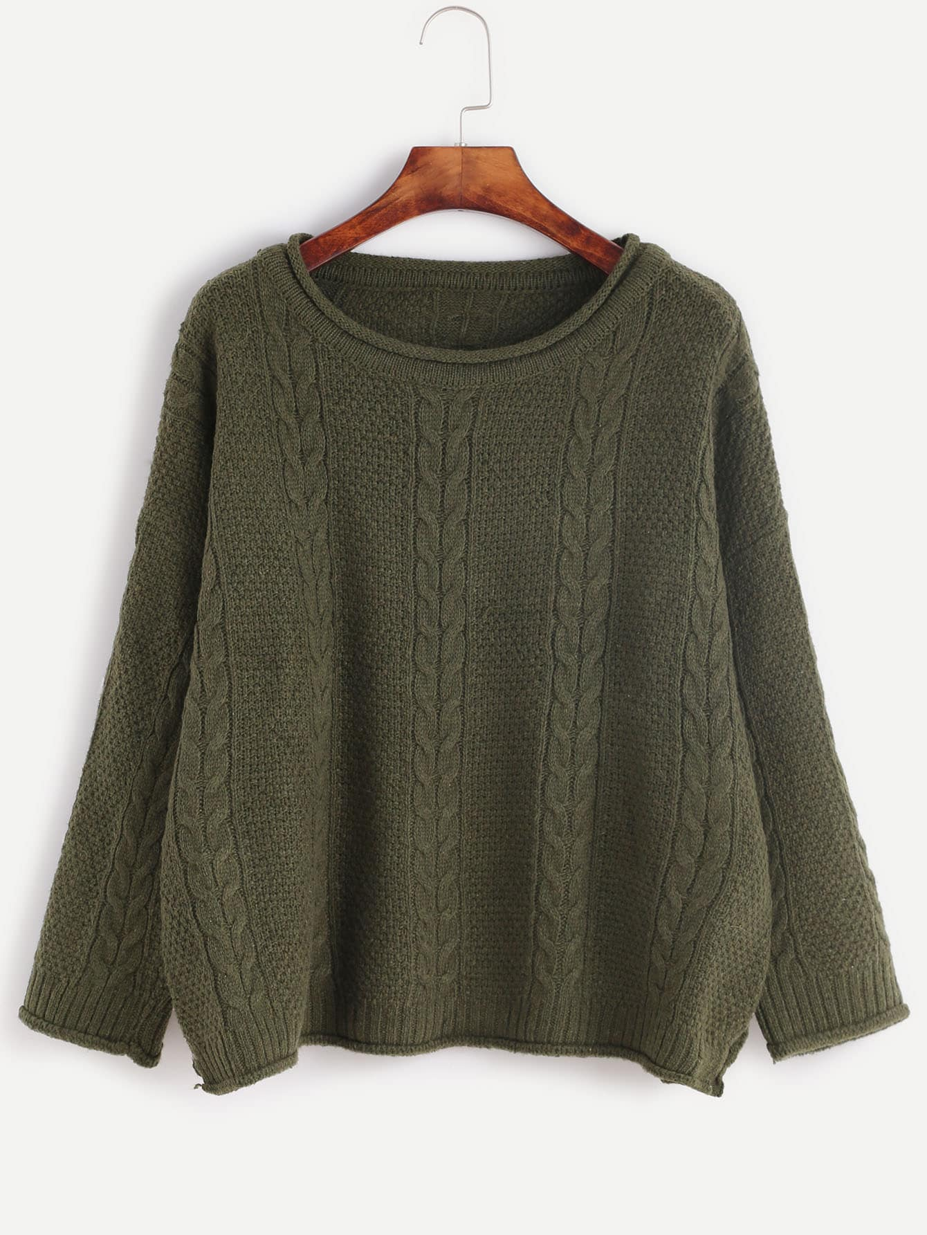 Dark Green Drop Shoulder Cable Knit SweaterDark Green Drop Shoulder Cable Knit Sweater<br><br>color: Green<br>size: one-size