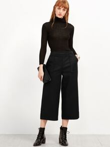 Black Wide Leg Front Pockets Pants